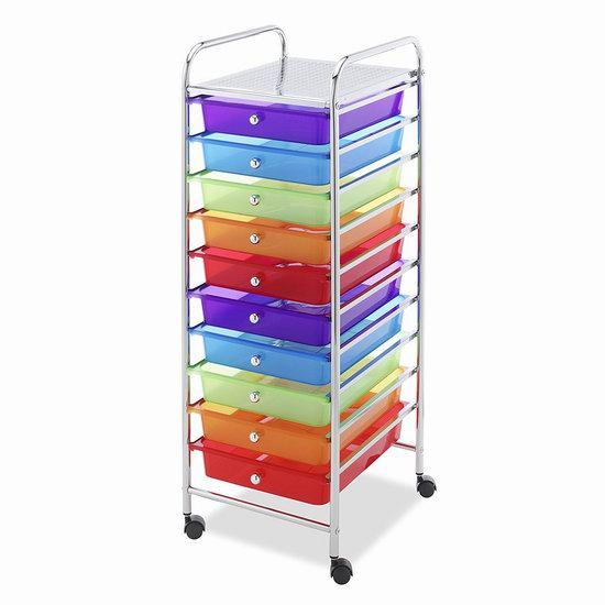 历史新低!WHITMOR 可移动式 10抽屉 彩色收纳架4.3折 57.62加元包邮!