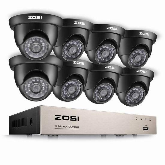ZOSI HD-TVI 1080N/720P 8路高清监控系统 175.09加元限量特卖并包邮!
