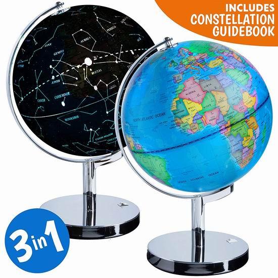 USA Toyz 三合一 LED夜灯 星球地球仪3.8折 48.83加元限量特卖并包邮!