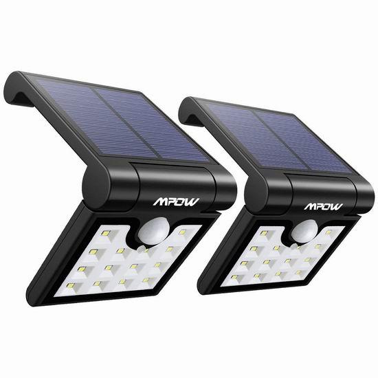 历史新低!Mpow 14 LED 太阳能防水运动感应灯2件套3.6折 14.44加元限量特卖!
