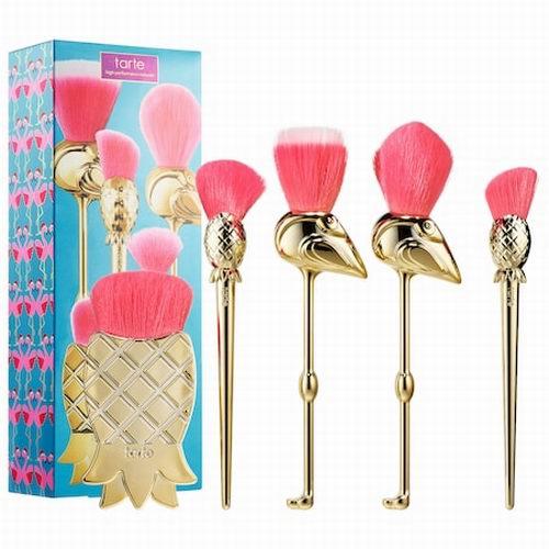 超级可爱!Tarte Let's Flamingle 火烈鸟+菠萝造型化妆刷5件套上市 售价57加元