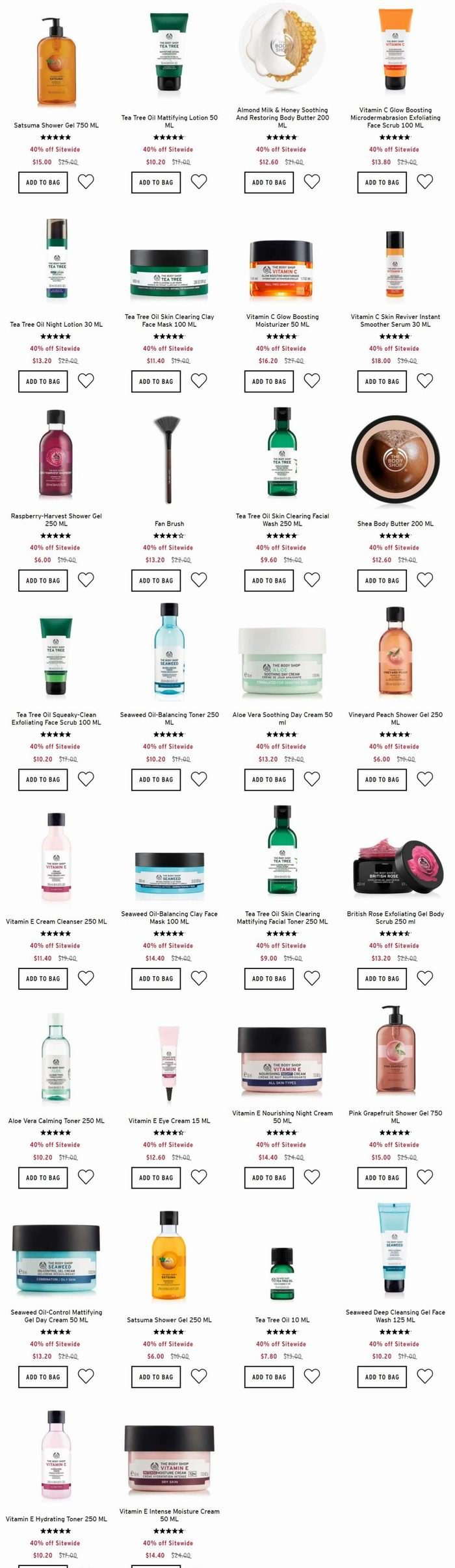 The Body Shop 美体小铺 全场美体护肤品6折优惠!