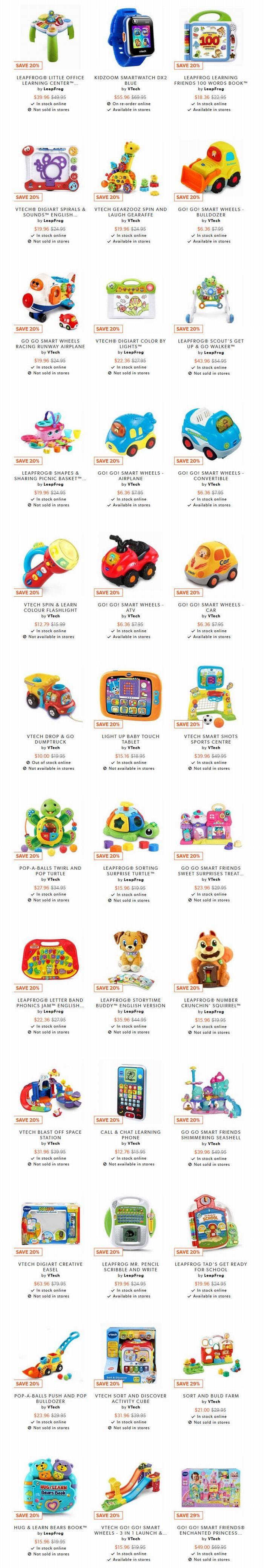 全场 VTech & LeapFrog宝宝益智早教玩具 8折优惠!