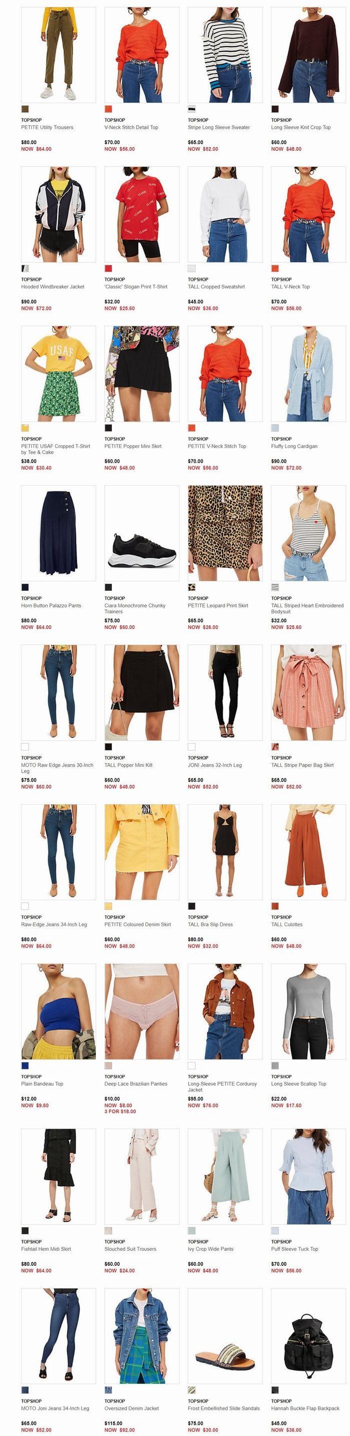 Topshop 2018秋季潮服、美包、美鞋 4折起+额外8折+满175加元减25加元