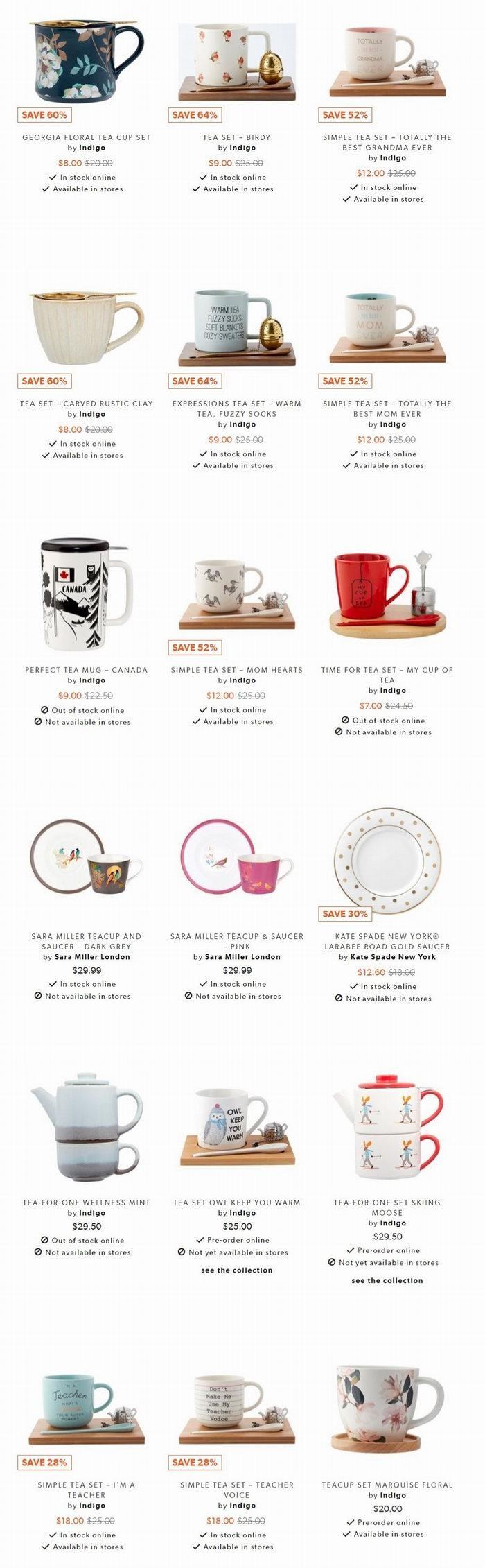 Indigo 精选大量小清新茶具用品 3.6折 5加元起特卖+包邮!