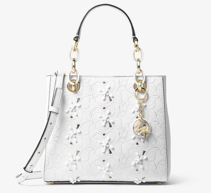 MICHAEL KORS Cynthia 小号花卉刺绣戴妃包 白色款 192.6加元,原价 428加元,包邮