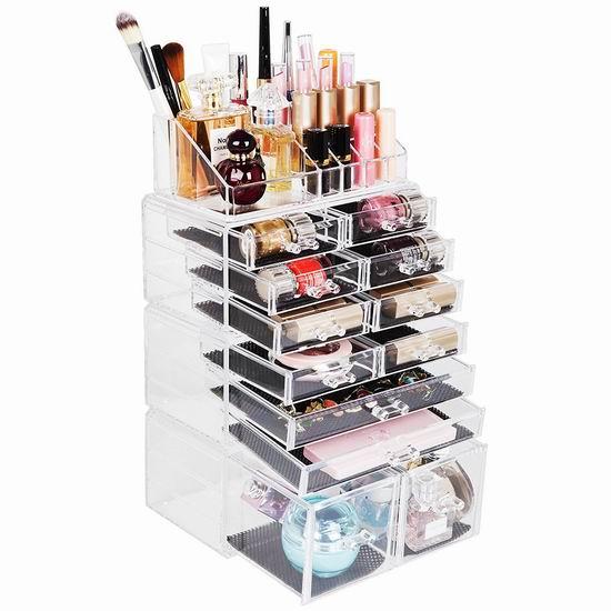 Readaeer 12抽屉 大容量 透明化妆品首饰收纳盒4件套 36.99加元限量特卖并包邮!2色可选!