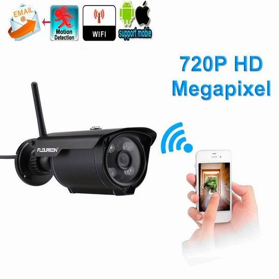 FLOUREON 720P 室外无线Wi-Fi安全监控摄像头 46.74加元限量特卖并包邮!两色可选!