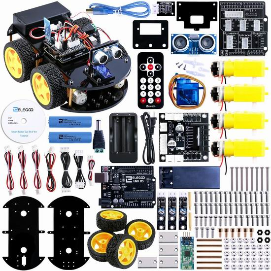 ELEGOO UNO V2.0 可编程智能机器人汽车 61.98加元限量特卖并包邮!包含Arduino UNO R3开发板!