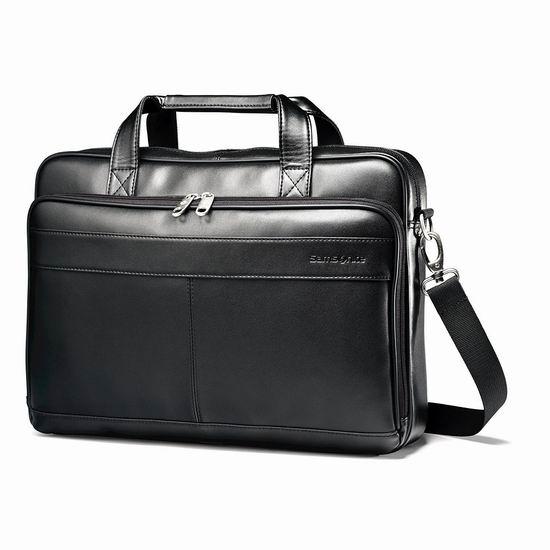 近史低价!Samsonite 新秀丽 Leather Slim 16英寸 男士真皮公文包5.6折 79.52加元包邮!