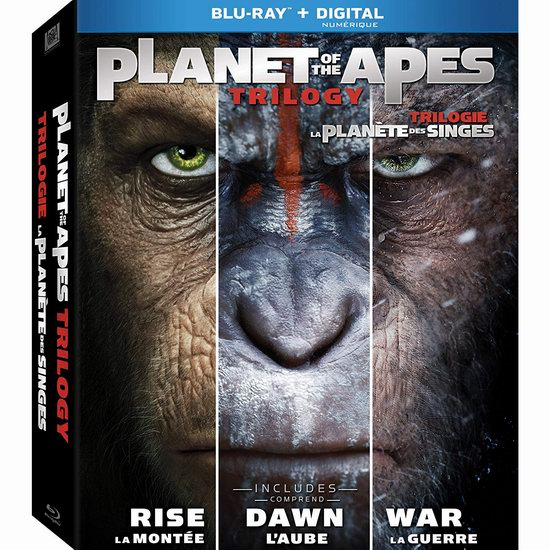 金盒头条:历史最低价!《Planet Of The Apes Trilogy 猩球崛起》蓝光影碟版电影合集 19.99加元!