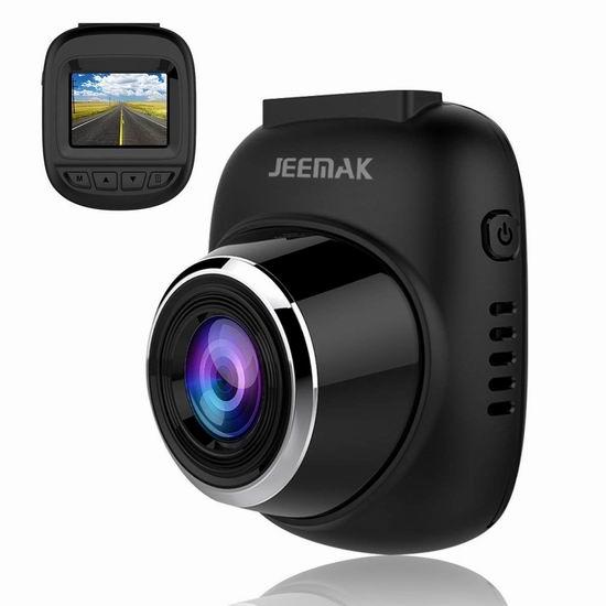 JEEMAK 1080P全高清 超广角 行车记录仪 34.09加元限量特卖!