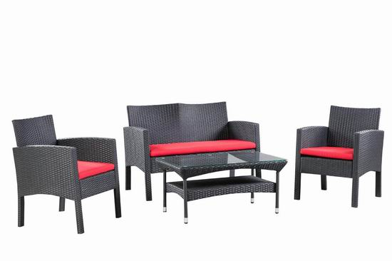 历史新低!Patioflare PF-CS311-BK 仿藤条编织 庭院藤椅+茶几4件套 488加元包邮!