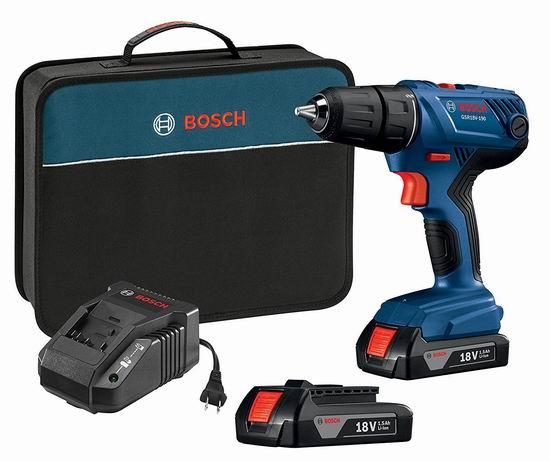 历史新低!Bosch 博世 GSR18V-190B22 18V 无绳电钻+双锂电套装 99.95加元包邮!
