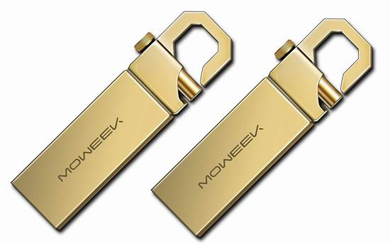 白菜价!历史新低!Moweek M16 USB 2.0 4GB 金色金属U盘2件套 5.99加元清仓!
