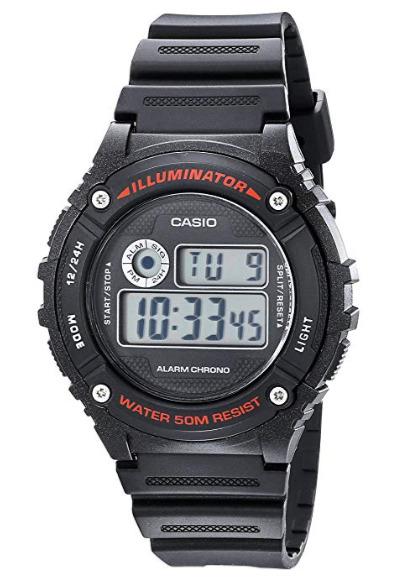 历史新低!Casio 卡西欧 W216H-1AV 照明/计时/闹钟 多功能电子手表5折 14.99加元!