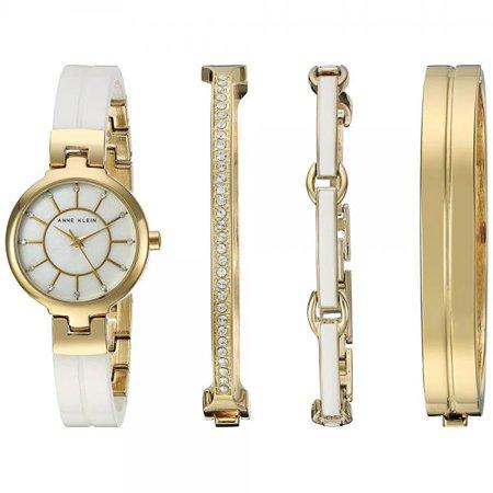手慢无!历史新低!Anne Klein AK/2048GXST 金色 施华洛世奇水晶 女士腕表+手镯套装 90.45加元包邮!