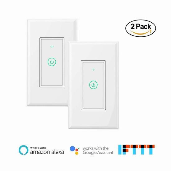 meross Wi-Fi 入墙式 Wi-Fi 智能开关2件套 41.25加元限量特卖并包邮!