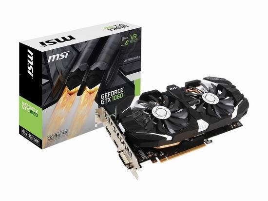 历史新低!MSI 微星 GeForce GTX 1060 6GT 游戏显卡5.6折 299.97加元包邮!会员专享!