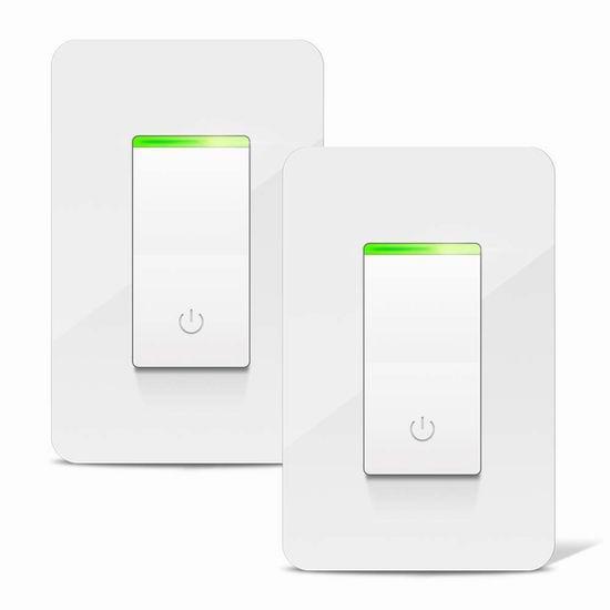 Aicliv 入墙式 Wi-Fi 智能开关2件套 44.99加元限量特卖并包邮!另有单个装22.99加元!