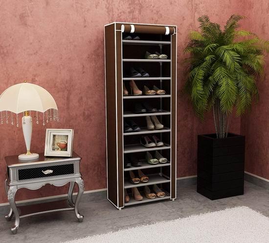 Homebi 带防尘罩 10层鞋架 24.87-28.47加元限量特卖并包邮!2色可选!