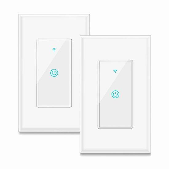 Aicliv 入墙式 Wi-Fi 智能开关2件套 42.38加元限量特卖并包邮!另有单个装23.79加元!