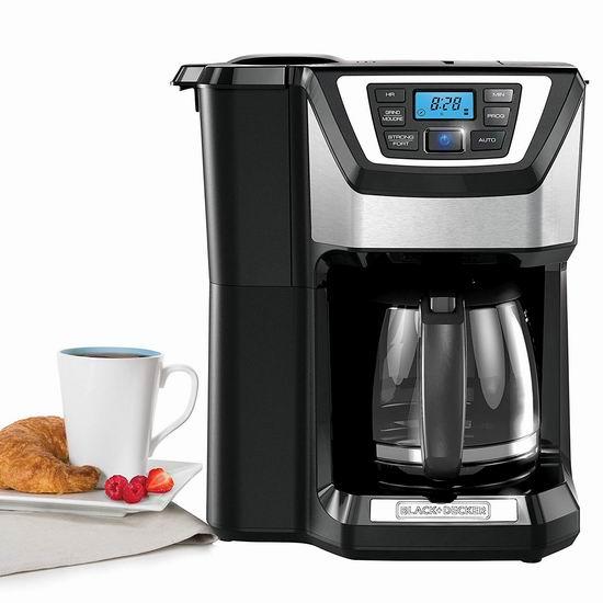 近史低价!BLACK+DECKER CM5000B Mill & Brew 12杯量 带磨豆功能 一体式可编程咖啡机 79.98加元包邮!