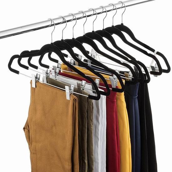 ZOBER 镀铬钢结构 带裤夹 黑色绒面超薄衣架20件套 24.64加元限量特卖!