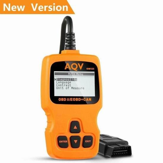AQV OBD2 汽车故障诊断仪 33.99加元限量特卖并包邮!