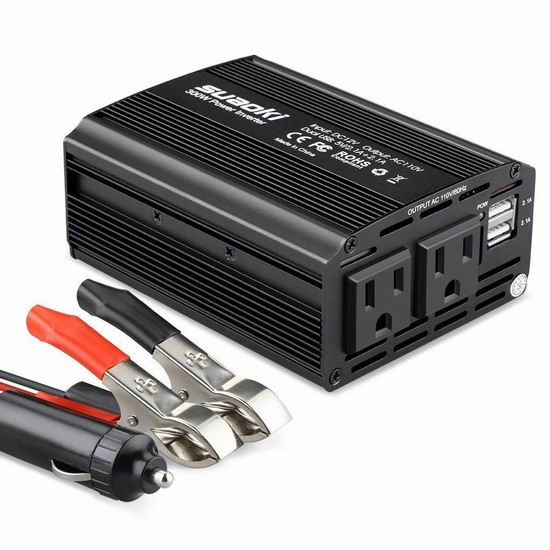 SUAOKI 300W 双插座+双USB充电 车载变压器 22.09加元限量特卖!