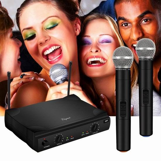 ELEGIANT VHF 专业无线麦克风/家用迷你KTV系统 49.99加元限量特卖并包邮!