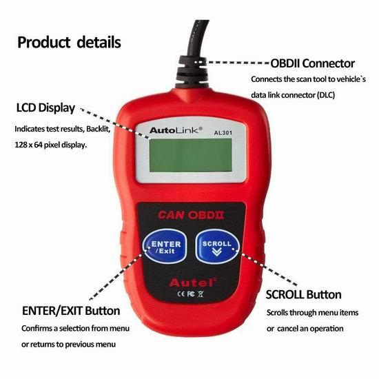 Autel AutoLink OBD2 汽车故障诊断仪 23.18加元限量特卖!