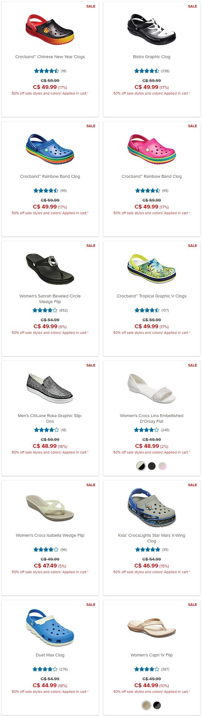 最后一天!Crocs 卡洛驰洞洞鞋换季清仓!精选鞋靴5折起+额外5折!