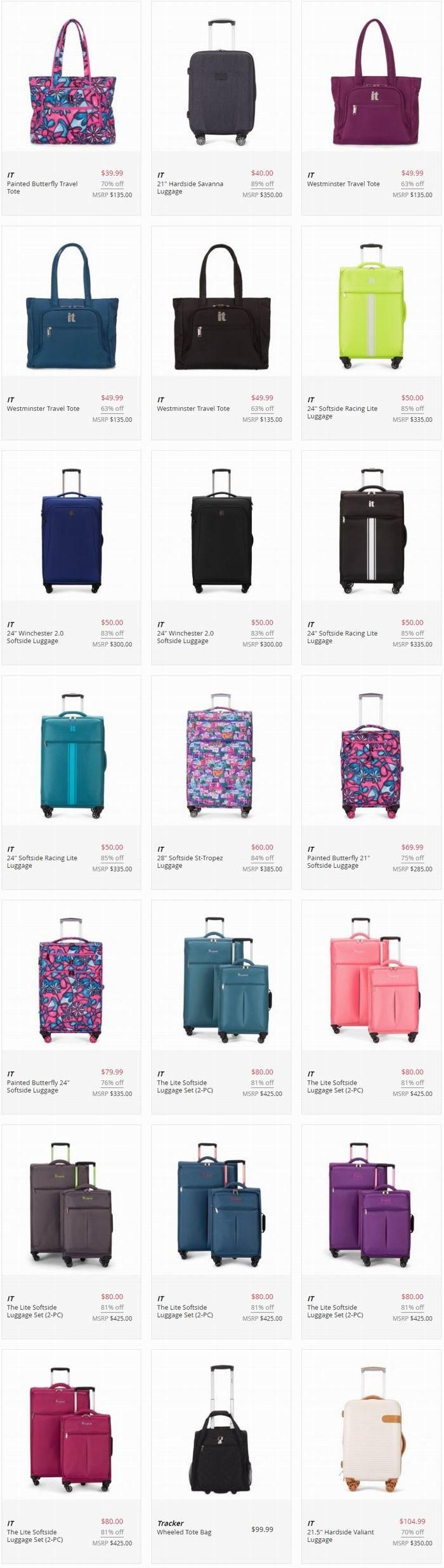 超级白菜!精选多款英国 IT Luggage 拉杆行李箱1.1折起清仓!20寸&28寸两件套仅80加元包邮!
