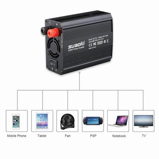 SUAOKI 300W 双插座+双USB充电 车载变压器 16.99加元限量特卖!