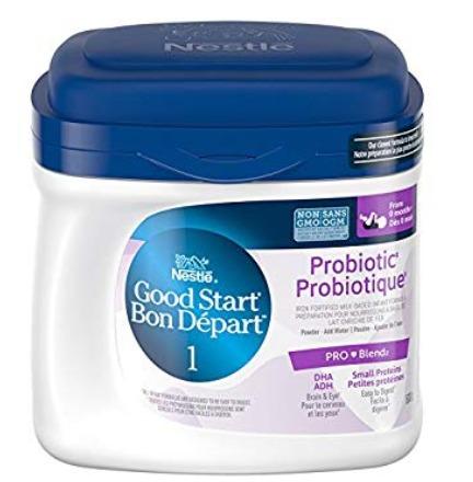 NESTLÉ 雀巢 GOOD START 1段/2段 DHA&ARA益生菌 婴儿配方奶粉(600克)25.62加元,原价 31.88加元