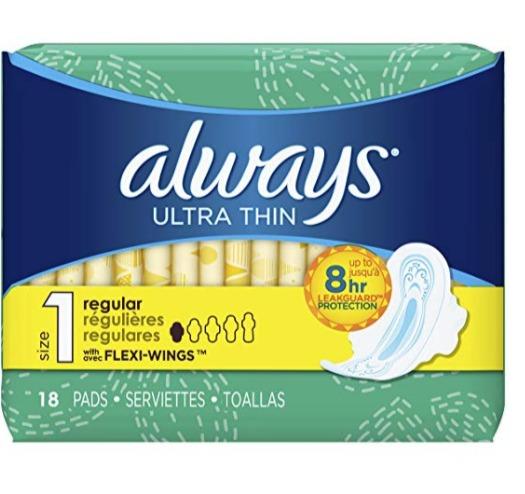 Always Ultra 18张超薄卫生巾 3.78加元,原价 4.99加元