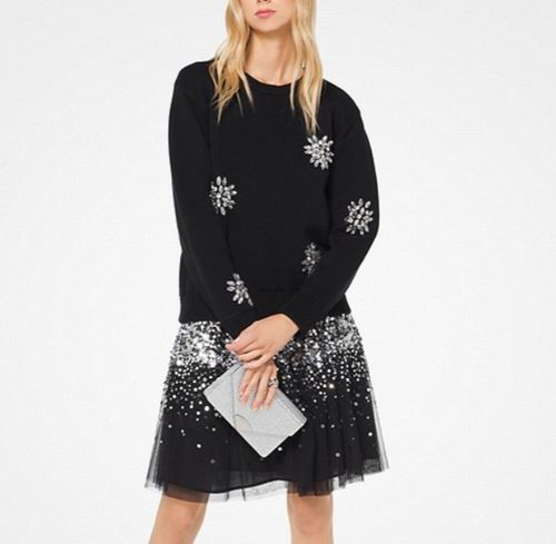 MICHAEL KORS Embellished 水晶装饰套头衫带亮片裙身设计 147.5加元,原价 295加元,包邮