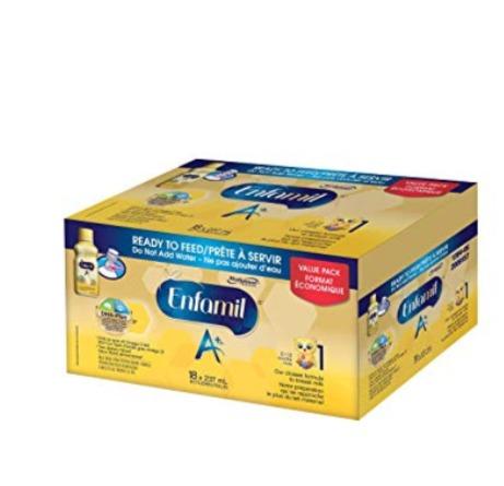 Enfamil 美赞臣 A + 1段/2段 18瓶婴儿配方液体奶 45.49加元(18 x 237mL),原价 52.98加元,包邮