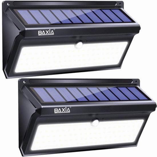 BAXIA TECHNOLOGY 100 LEDs 2000流明超亮 太阳能运动感应灯2件套 42.49加元限量特卖并包邮!