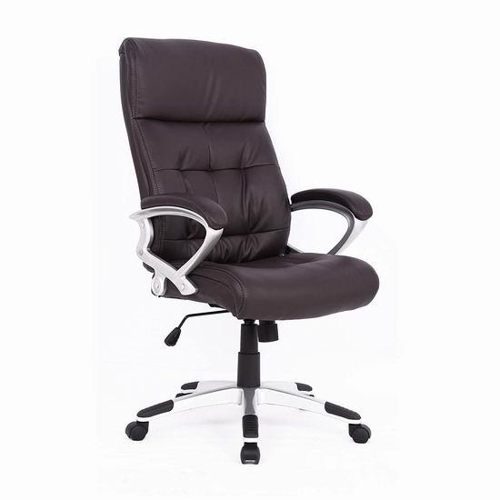 历史新低!Soges HLC-2143L-CA 黑色高靠背旋转办公椅5折 99加元包邮!