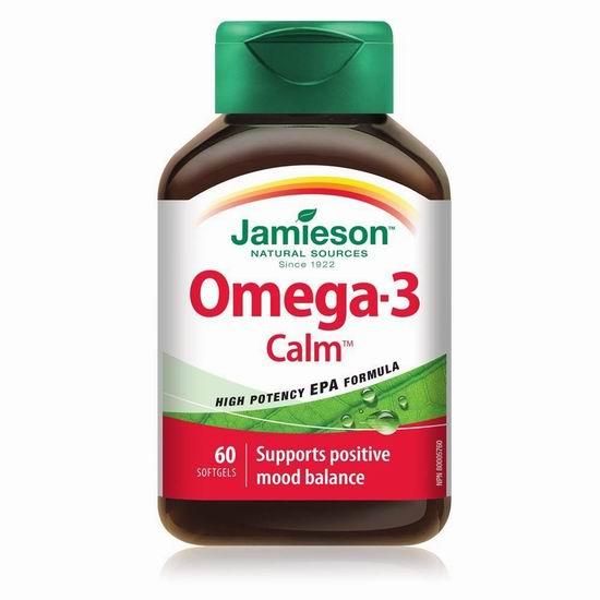 历史最低价!Jamieson 健美生 Omega-3 Calm 安神静心减压 鱼油胶囊(1000mg x 60粒) 11.66加元包邮!