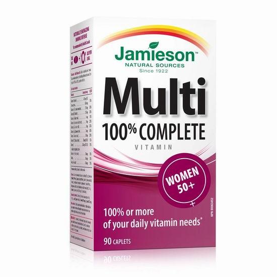 历史新低!Jamieson 健美生 100% Complete 复合维生素 女士50+(90片)5.2折 8.93加元包邮!