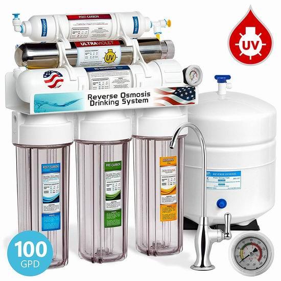 历史新低!Express Water ROUV10DCG 6级反渗透过滤+紫外线杀菌 家用纯净水过滤系统5.4折 227.97加元包邮!