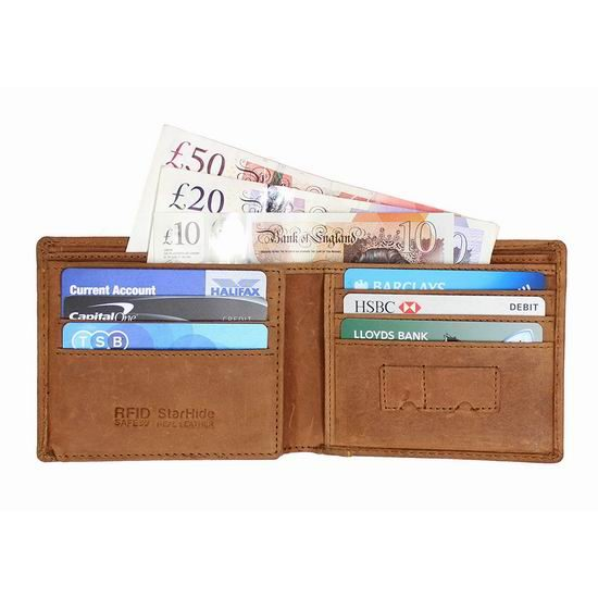 历史最低价!StarHide RFID防盗 复古棕色真皮钱包4折 16加元!