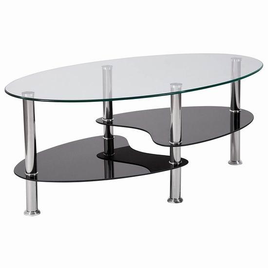 近史低价!Flash Furniture 椭圆钢化玻璃茶几 86.56加元包邮!