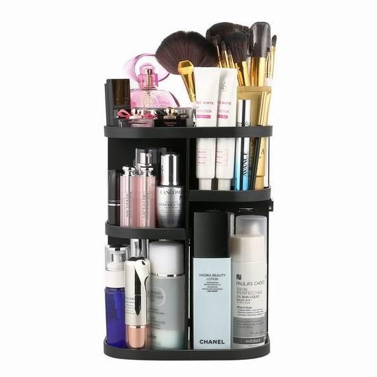 Jerrybox 360度旋转 黑色化妆品收纳盒 23.79加元限量特卖!