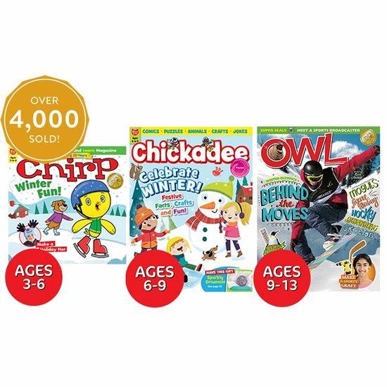3-13岁热门儿童杂志《OWL、Chickadee、Chirp》一年期订阅4.1折 24.65加元包邮!