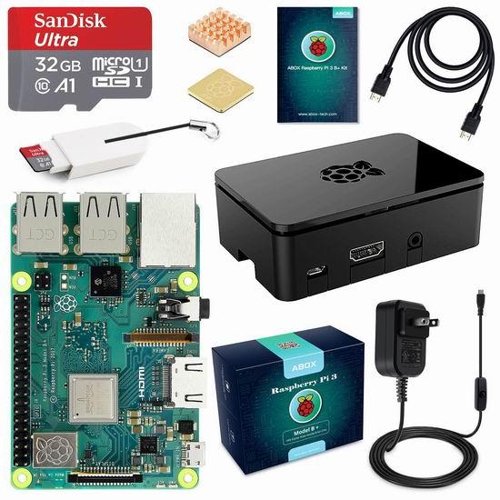 ABOX Raspberry Pi 3 树莓派3 Model B+ 主机板+SD卡+电源 终极入门套件 79.19加元限量特卖并包邮!