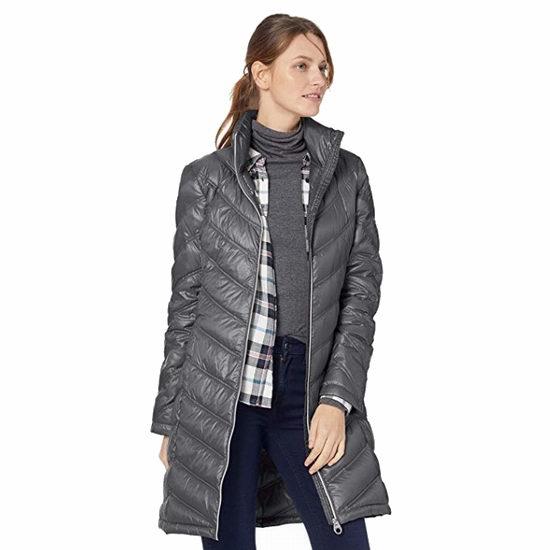 Calvin Klein Chevron-Quilted 中长款女式羽绒服(XS码) 61.35加元包邮!